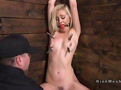 Roped up cornered platinum-blonde labia stimulated