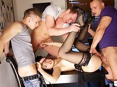 Gang Hook-up pornography act for slender Taissia-Shanti
