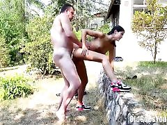 Gal visited step-dad and got romped outdoors