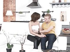 HD fucktape of youthful duo on couch